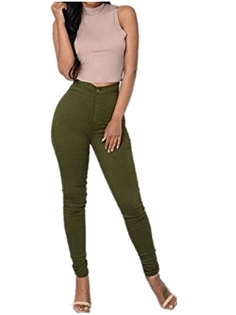 af2a24c48360f Z.M High Waisted Pants Skinny Jeans for Women Stretch Pencil Pants Curve Jeggings  Leggings,Army