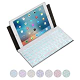 Portable Bluetooth Keyboard, Raydem Ultra Thin 7-Colors Backlit Wireless Keyboard with Smart Stand Leather Case Cover for iPad Mini, iPad Air, iPad Pro, iPhone, Tablets, iOS, Android, Windows