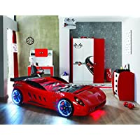 Childrens RED Ferrari Shark Racing SuperCar Twin Bed With LED Lights +Sound (Shark Red)