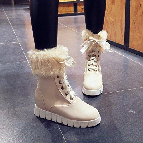 Carolbar Mujeres Lace Up Sweet Fashion Botas De Piel De Imitación De Piel Oculta Botas De Nieve Beige