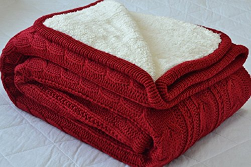 Knit Throw Blanket, Fashion Handmade Twist Crocheted Sleeping Cover Blanket with Sherpa Lining for Mom (Red, 47.25×70.86
