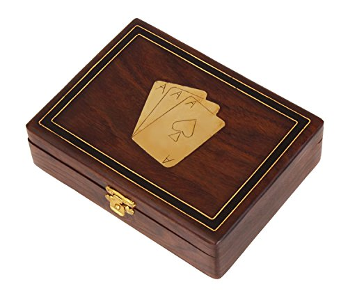 Decorative Wooden Standard Double Deck Playing Cards Holder Case Storage Box Handmade with Fine Brass Ace Design for Adults Kids (Card Deck Display Case compare prices)