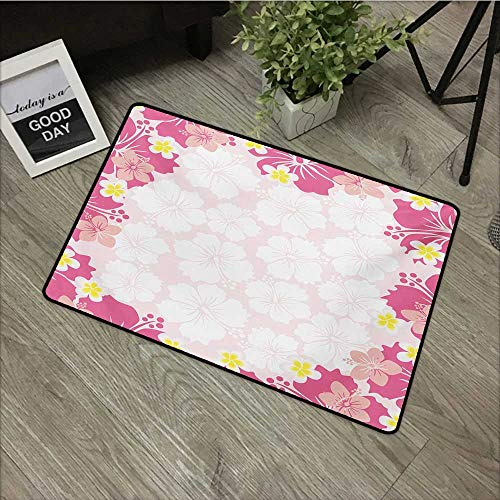 - Bathroom door mat W31 x L47 INCH Luau,Graphic Framework Cute Pink Hibiscus Flourish Hawaiian Nature Abstract Style,Pink White Marigold Natural dye printing to protect your baby's skin Non-slip Door Ma
