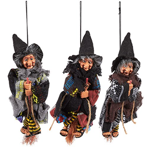 Set of 3 Flying Witches on Broomsticks Hanging Decoration - Perfect for Halloween - Indoor Halloween Decor, 3 x 9.5 x 2 Inches - Witch On A Broom