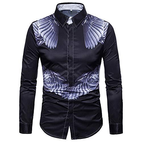 Zyh Camisas de Vestir para Hombres, Camisas de Manga Larga y Tallas Grandes Camisetas Ajustadas con Botones de algodón 2018...