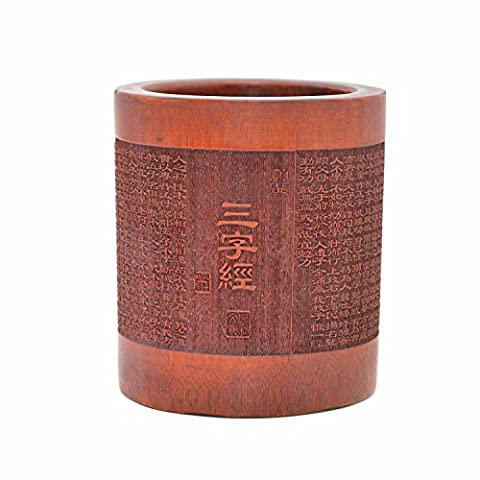 Medifier Vintage Chinese with Three Character Classic Worlds Bamboo Wood Desk Pen Pencil Cup Holder (Bamboo Brush Pen)