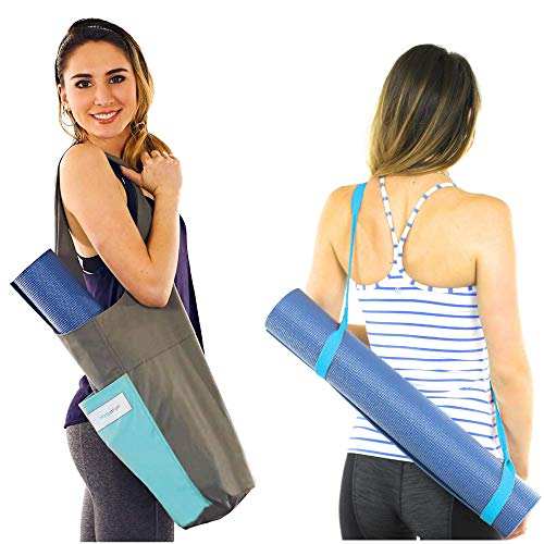 Yoga Mat Bag Carrier + Extra Yoga Mat Strap Holder for Carrying Yoga Mat - with 2 Extra Pockets for Keys, Phone and Extras. Cotton Canvas Tote Gym Sling - Yoga Bag for Men Women and Kids (Blue)
