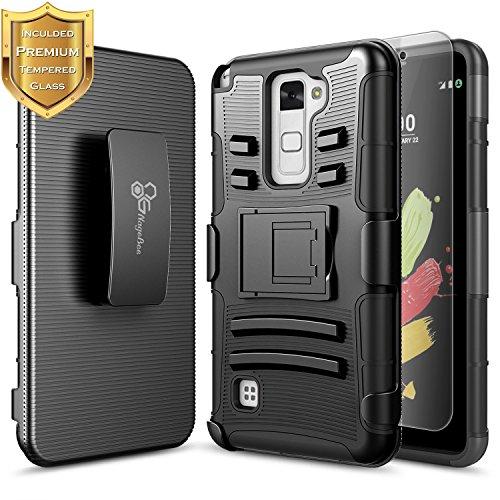 LG Stylo 2 V Case, LG Stylo 2 LTE (LS775 K540) w/ [Tempered Glass Screen Protector], NageBee [Heavy Duty] Shock Proof [Belt Clip] Holster [Kickstand] Rugged Case for LG Stylus 2 (L81AL L82VL) -Black