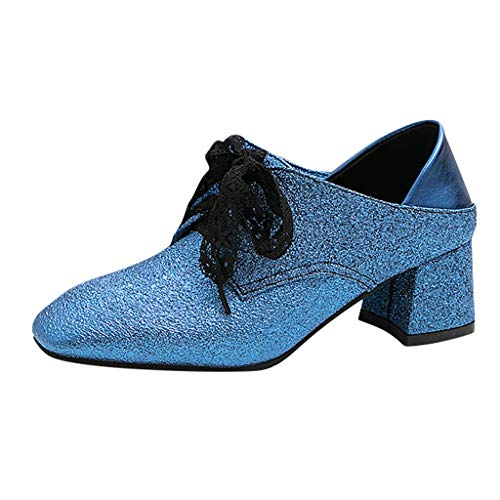 ♫Loosebee♫ Women Fashion Square Heels Sequins Leisure Shallow Single Shoes Lace-Up Latin Dance Shoes Party Wedding Shoes