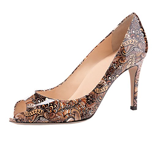 Eldof Women Peep Toe Pumps Mid-Heel Pumps Formal Wedding Bridal Classic Heel Open Toe Stiletto Brown-Pattern US 13
