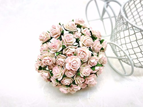100 PCS cream pink Rose Mulberry Paper Flower Craft Handmade Wedding 10 mm Scrapbook