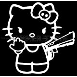 Hello Kitty Finger & Gun Die Cut Vinyl Car Decal Window Sticker