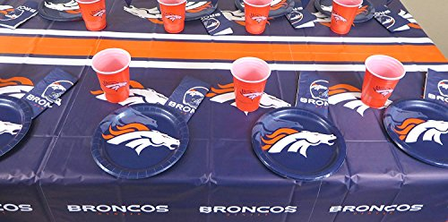 Denver Broncos Super Bowl playoffs 49 pieces set, Tablecloth,16 plate, 16 napkins, and large plastic 16 cups