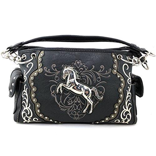 Justin West Horse Embroidery Studded Concealed Carry Handbag Purse Matching Wallet (Black Handbag Only)