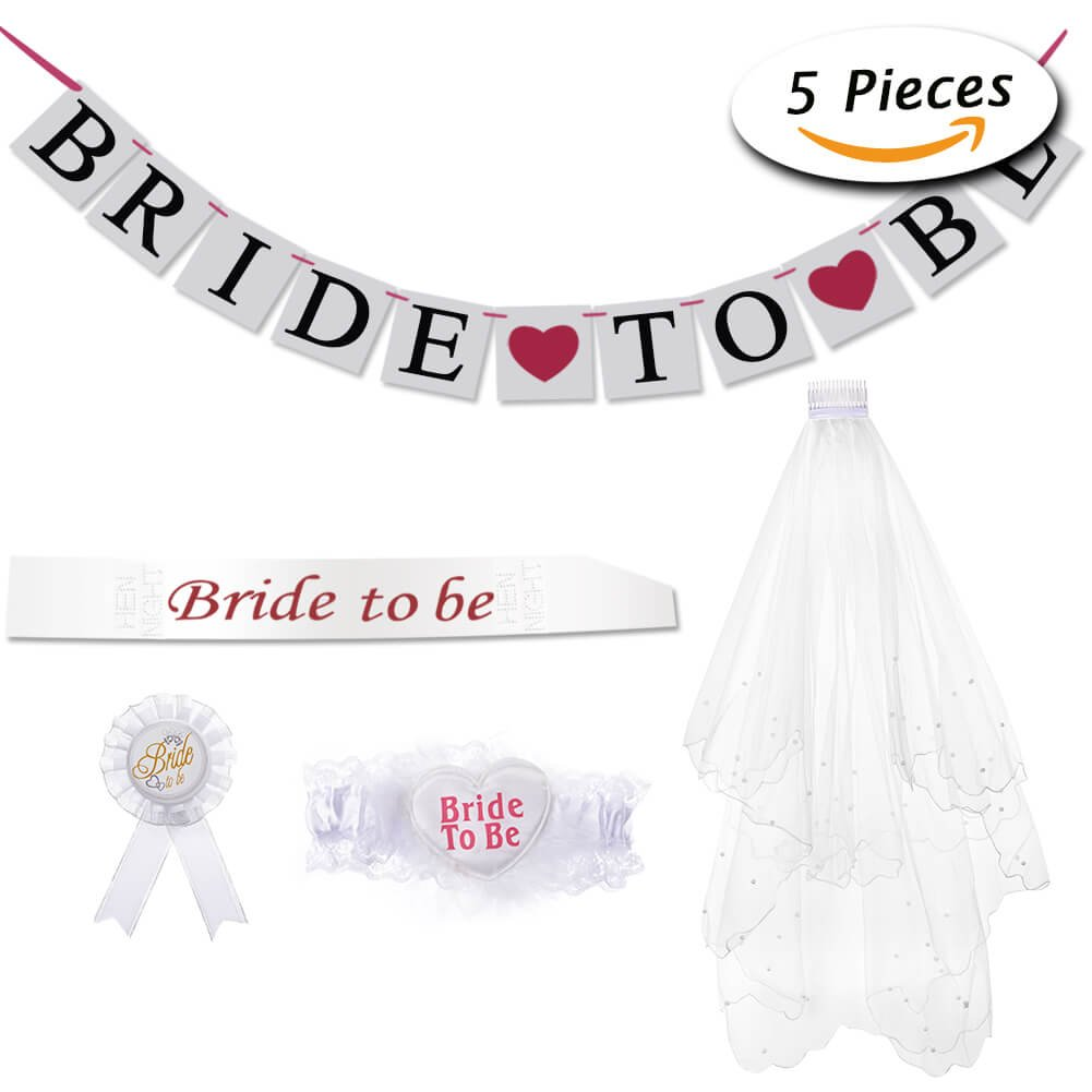 Bride to Be Veil Sash Banner Garter Rosette Badge Accessory kit for Hen Night Party Wedding Decorations by Paxcoo