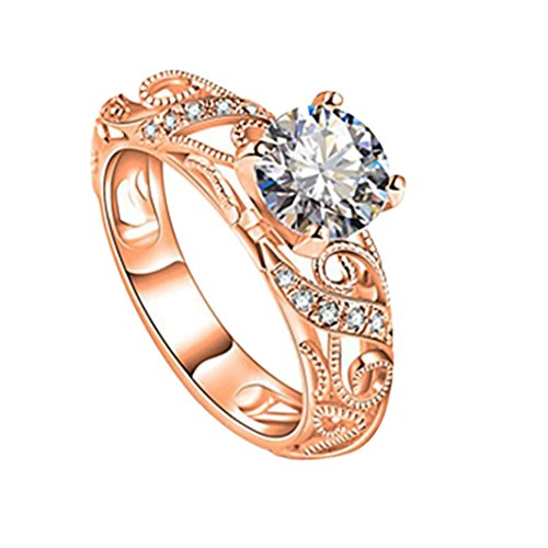 Diamonds Set Gift Sapphires (Balakie Elegant Cut Wedding Ring Gift Luxurious Micro Inlaid Ring Diamond Ring Four Claw (Rose Gold, 10))
