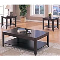 3pc Cappuccino Finish Wood Coffee & 2 Occasional End Tables Set
