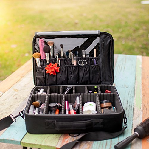New BEST Professional Makeup Case Travel Makeup Bag Makeup Artist Cosmetic Train Case Cosmetic Organizer Big Makeup Bag Perfect Gift - Makeup Organizer & Makeup Brush Holder Bag/ Designer Makeup Case from Black Beauty Cosmetics