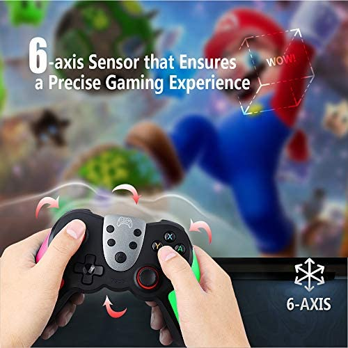 TERIOS WIRELESS CONTROLLER FOR NINTENDO SWITCH/SWITCH LITE – PREMIUM JOYPAD FOR VIDEO GAMES – 3 LEVELS OF TURBO SPEED – NFC TECHNOLOGY-(PINK - GREEN)