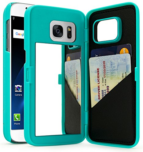 Bastex Galaxy S7 Case, Teal Hidden Back Mirror Wallet Case with Stand Feature and Card Holder for Samsung Galaxy S7 G930