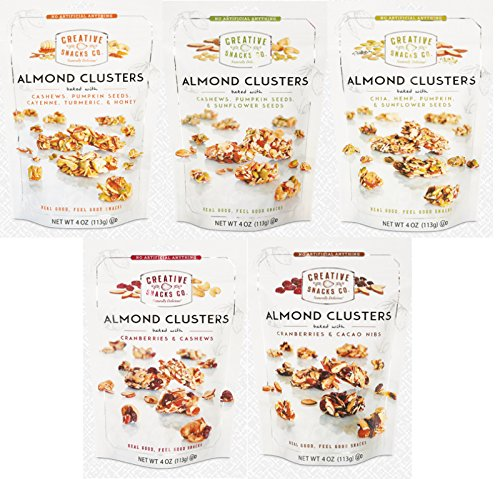 Creative Snacks, Almond Clusters Variety Pack w/ All 5 Flavors, 4 oz (5 Pack)