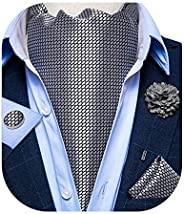 DiBanGu Ties for Men, Silk Solid Color Necktie with Pocket Square Cufflinks Tie Clip Gift Box Package