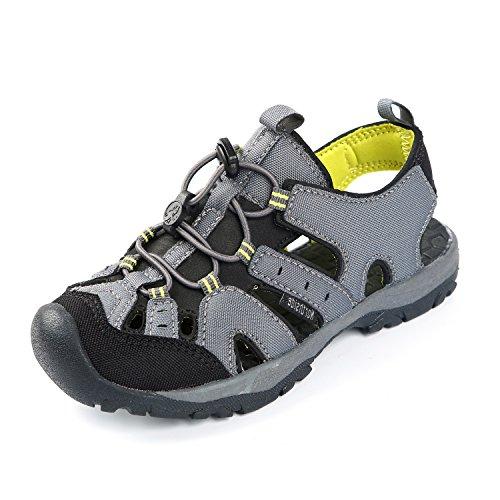 Northside Burke II Athletic Sandal,Gray/Volt,4 M US Big Kid