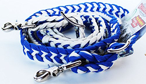 - PRORIDER Roping Knotted Horse Tack Western Barrel Reins Nylon Braided White Blue 60717
