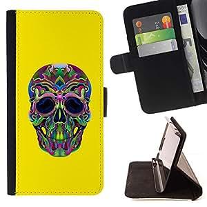 Momo Phone Case / Flip Funda de Cuero Case Cover - Hippie Lsd Weed Amarillo Cráneo Profundo - HTC One A9