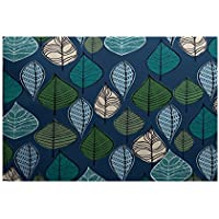 E by design RFN745BL44-23 Autumn Leaves, Floral Print Indoor/Outdoor Rug, , 2 x 3, Blue
