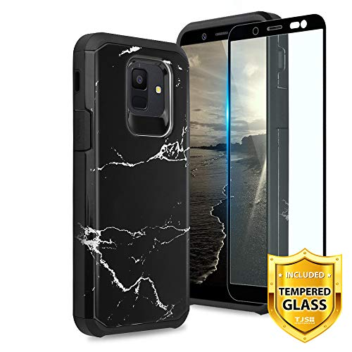 TJS Case Compatible for Samsung Galaxy A6 2018, with [Tempered Glass Screen Protector] Dual Layer Hybrid Shockproof Drop Protection Impact Rugged Phone Marble Case Armor Cover (Black)