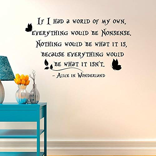 Mad Hatter If I Had A World of My Own Everything Would Be Nonsense- Alice in Wonderland Wall Decals Quotes- Alice in Wonderland Wall Art 16