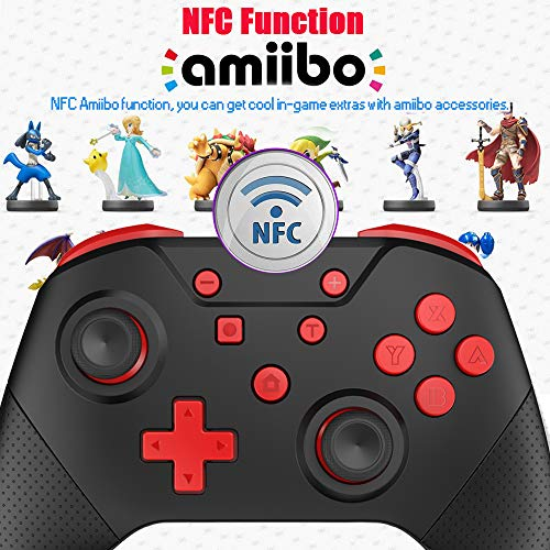 GCHT GAMING Switch Controllers for Nintendo Switch with Wake Up, NFC, Turbo, Gyro Axis, Dual Shock, Switch Pro Controller Compatible Nintendo Switch/Switch Lite (Black Rad)