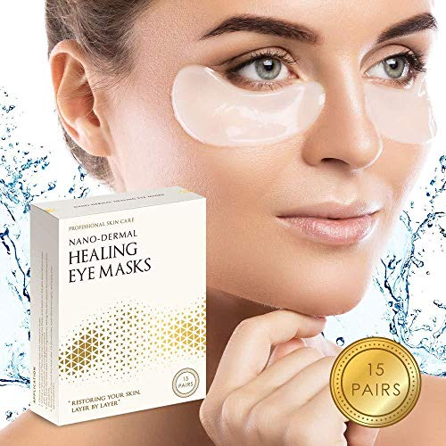 Nano-Dermal Healing Eye Mask Anti-Aging Hyaluronic Acid Trehalose and Vitamin E Eye Patches Under Eye Pads for Moisturizing and Reducing Wrinkles Dark Circles Puffiness