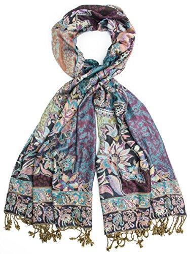 Bohomonde, Bethshaya Reversible Cashmere Silk Pashmina Scarf, hand made in India (Violet/Blue/Cream)