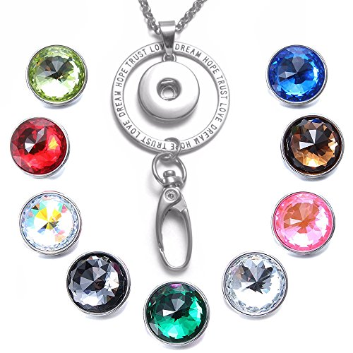 Soleebee 34.5 inches Office Lanyard Snap Button Jewelry ID Badge Holder Necklace Bonus 9pcs Facets Crystal Glass Snap Buttons (Trust Love)