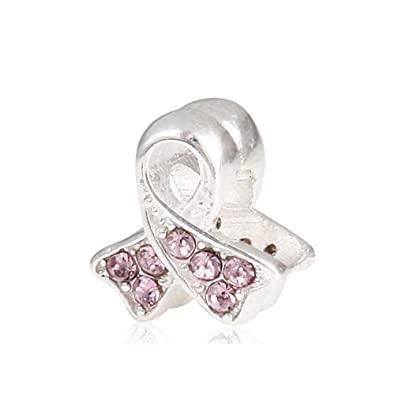 139f5606f Ribbon Lung Cancer Beads with Light Amethyst Crystal 925 Sterling Silver  Bead Fits Pandora Charm Bracelet: Amazon.co.uk: Jewellery