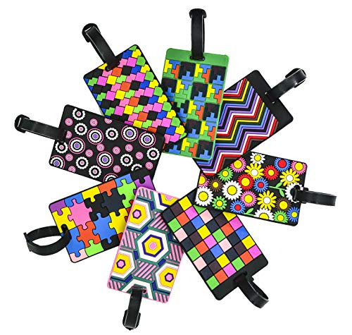 (EP Queen Luggage Tags for Women Travel Suitcase Labels Business ID Card Holder with Adjustable Strap (8 PCS Geometric Tag))