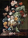 Still-Life with Flowers by Rachel Ruysch Tile Mural Kitchen Bathroom Wall Backsplash Behind Stove Range Sink Splashback 3x4 8'' Ceramic, Matte