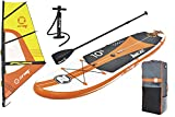 Z-Ray W2 Windsurfing Inflatable Stand-Up Paddleboard Set with Board/Sail/Pump/Paddle/Backpack
