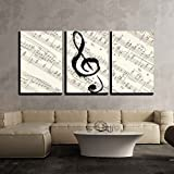 """wall26 - 3 Piece Canvas Wall Art - Music Note on Vintage Musical Score Paper - Modern Home Decor Stretched and Framed Ready to Hang - 16""""x24""""x3 Panels"""
