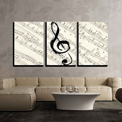 wall26 - 3 Piece Canvas Wall Art - Music Note on Vintage Musical Score Paper - Modern Home Decor Stretched and Framed Ready to Hang - 24