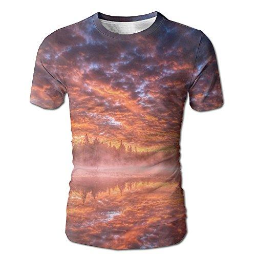 Sunset Sky Lake Reflection Adult Male Fashion Short Sleeve T-Shirts Full Print Jersey Undershirts Small