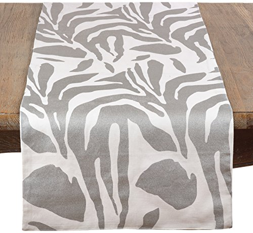 Saro Malawi Collection Metallic Animal Print Table Runner, 16