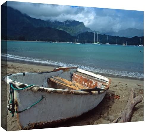 ArtWall Kathy Yates Waiting to Row in Hanalei Bay Gallery Wrapped Canvas Artwork, 24 by 36-Inch