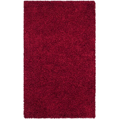 Handmade Polyester Rug - Safavieh Monterey Shag Collection SG851R Handmade Red Polyester Area Rug (2' x 3')