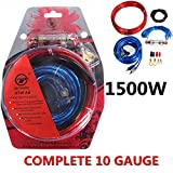 AUDEW 1500W Gauge Car Audio Amp Amplifier Subwoofer Wiring Fuse Holder Wire Cable Kit