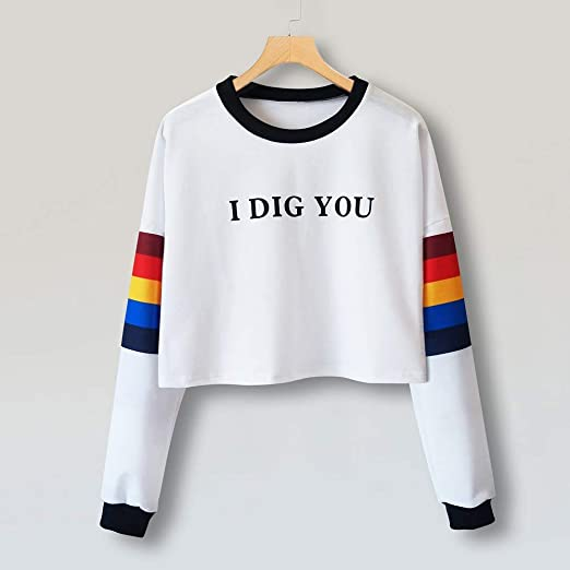 Amazon.com: Blouses Shirts Mitiy Women Letter Print Sweatshirt Color Block Stripe Long Sleeve Blouse Top Pullover: Clothing