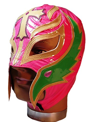 Main Street 24/7 WWE Licensed Rey Mysterio Youths Kid Size Pink With Tan & Green Trim Leather Pro Grade Mask by Main Street 24/7