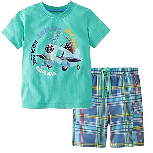 (Frogwill Toddler Boys The Little Monster Truck Tee and Shorts Set 18M-7Y (2T, Airplane))